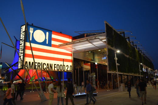 USA Pavilion. Upon entering the pavilion, you will be greeted by President Obama speaking about the the problem of food.