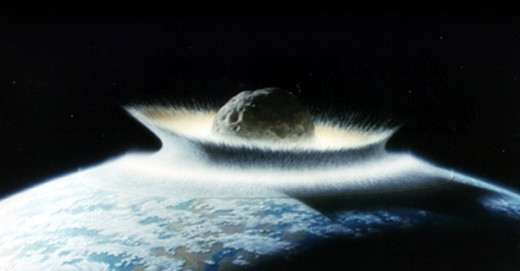 Depiction of asteroid impact to Earth