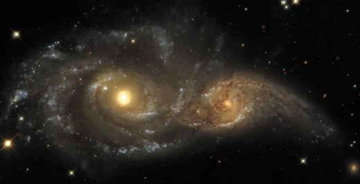 Depiction of the two galaxies merging.