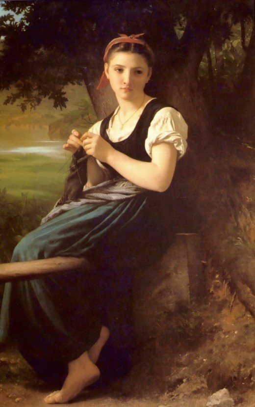 The Knitting Woman by William Bouguereau.
