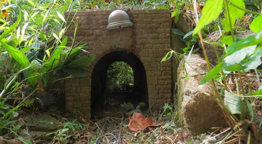Tunnel light that needs straightening.