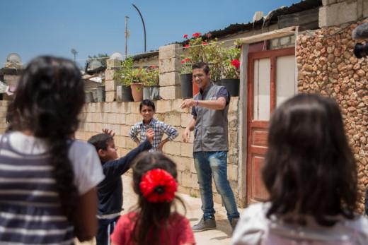 Ahmad with children at NGO Himaya