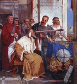 Galileo showed the Doge of Venice how to use the telescope (Fresco by Giuseppe Bertini)