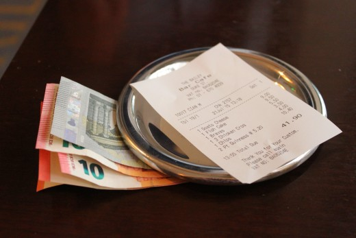 A check from a cafe in Ireland doesn't request a gratuity.