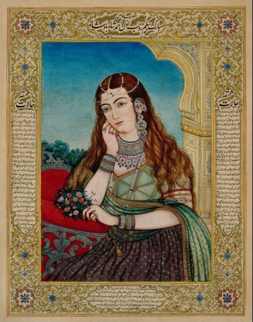 An European woman in Mughal costume and jewelry. 19th century.