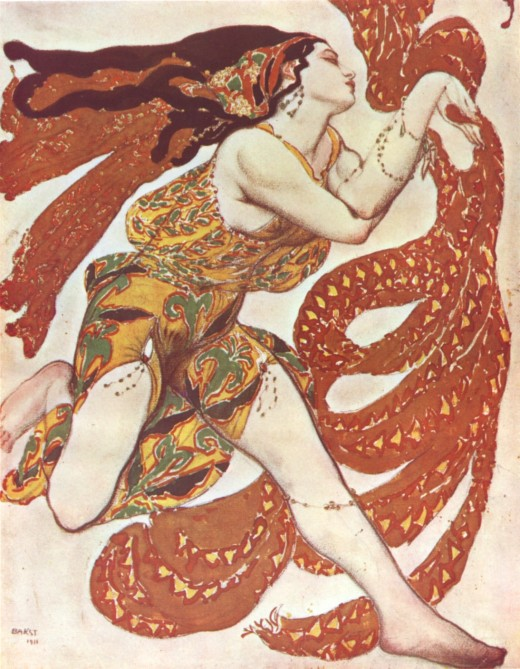 Narcisse Bacchante by Léon Bakst [Public domain], via Wikimedia Commons.