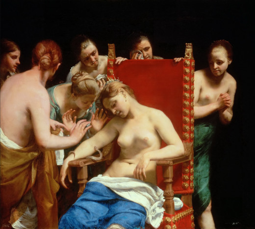 The Death of Cleopatra c1659 Oil on canvas 153 × 168.5 cm (60.2 × 66.3 in)