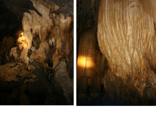 The stalagmite and stalactite formations whichever