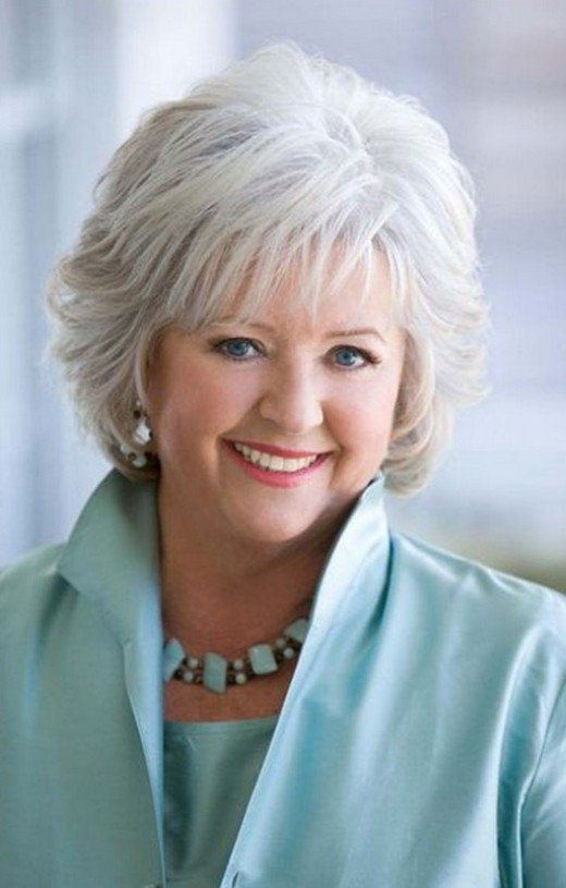 Paula Deen with soft layers and bangs