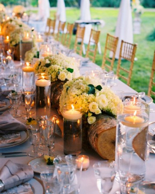 Recycled logs hallowed out with plants or flowers set in glass rectangular vases are a perfect touch for a rustic wedding