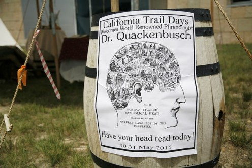 Entertainment: Briant Hall, otherwise known as Dr. Quackenbusch the phrenologist, examined heads of those visiting the California Trail Interpretive Center while lying on a bed of nails.