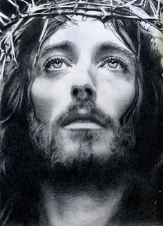 Jesus with a thorn crown.