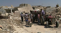 Azaz Syria during the Syrian Civil War Displacement with Tractor