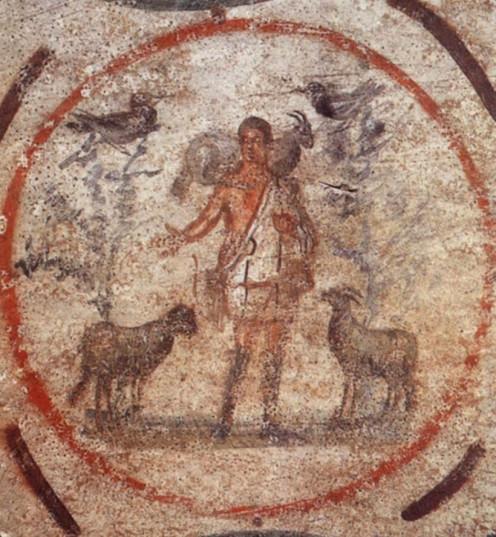 Christ the Good Shepherd, Fresco Catacomb di Priscilla, Rome, Italy