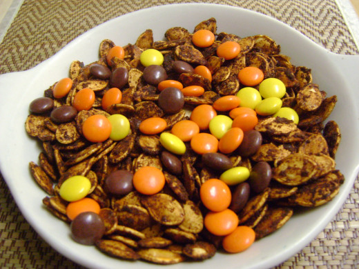 Add some sweets to the roasted seeds to spice it up. Reese's Pieces add just the right touch