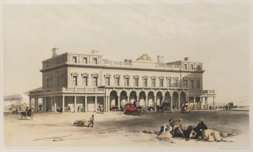View of the Brighton Station of the London & Brighton Railway. Tinted lithograph, 1841. Published by Ackermann & Co, London