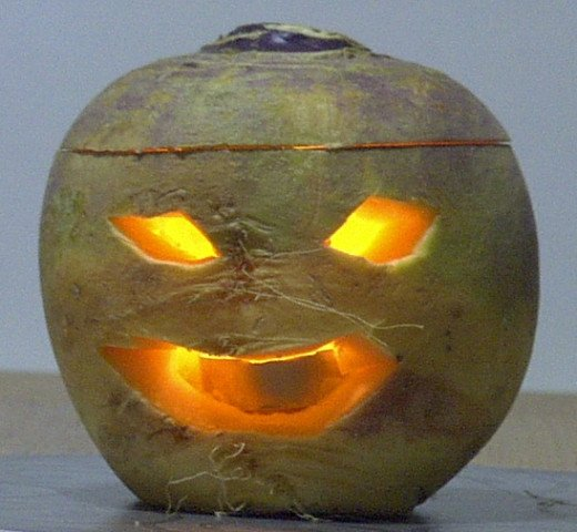 Scotland, late 1960's - turnips were used to create jack-o-lanterns rather than pumpkins.
