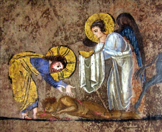 Der gute Samariter Codex purpureus rossanensis fol-7v. (creative commons)