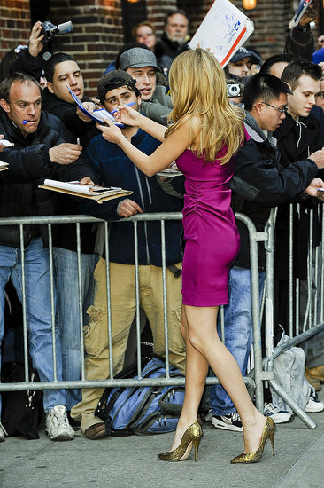 Blake Lively in a short dress and high heels at a Late Show appearance