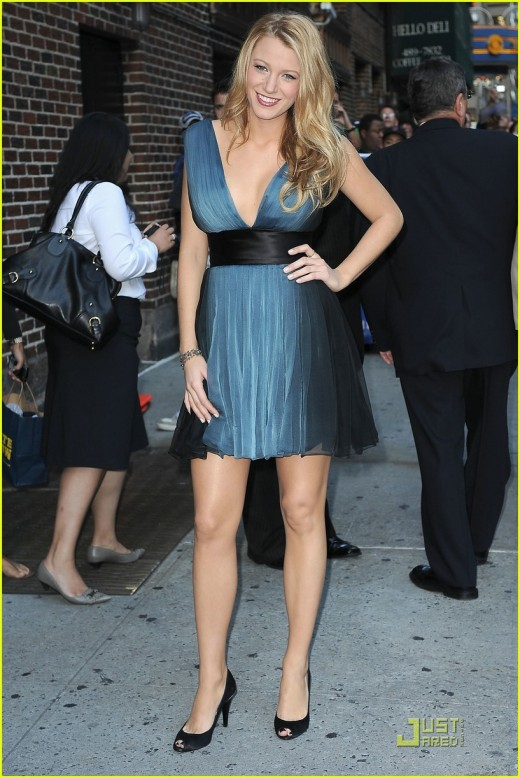 Blake Lively in a short dress and high heels