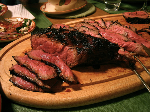 London broiled steak is tender on the inside and charred on the outside. Broiling is a perfect way to cook a fine cut of beef.