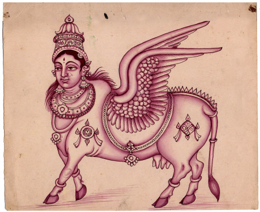an artist's impression of Kamadhenu, the mother of all cows according to the Hindu mythology. She blesses her owner with anything he wishes and hence she is the all giver, the property that is attributed to the cow till day.