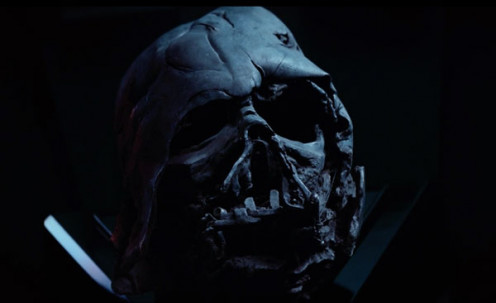 Charred helmet of Darth Vader.