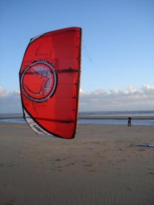 Kitesurfing kite at Camber