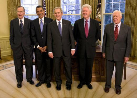 George H. W. Bush, Barack Obama, George W. Bush, Bill Clinton, Jimmy Carter