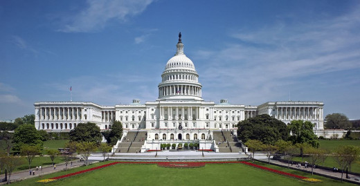 The western front of the U.S. Capitol, meeting place for the Congress. The building was designated a  National Historic Landmark in 1960 and is located in Washington, D.C.