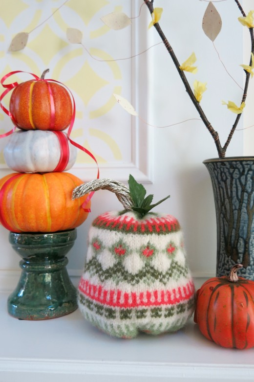 Turn an Old Sweater into a Felted Fall Pumpkin Decoration