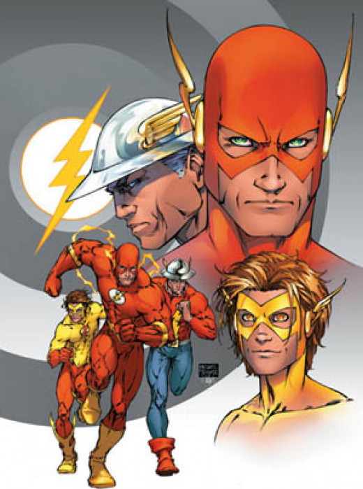 Jay Garrick, Wally West, and Barry Allen on the cover of The Flash vol. 2 #208 (May 2004). Art by Michael Turner.