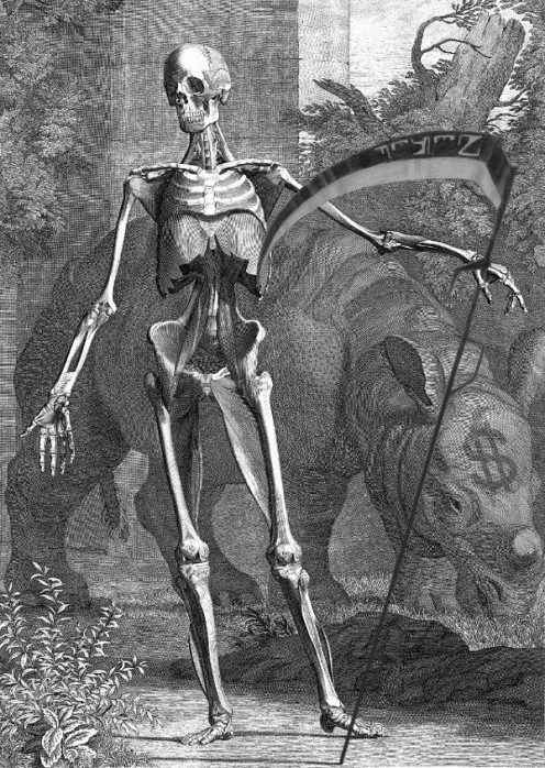 Image of skeleton and rhino by 18th century Dutch artist, Jan Wandelaar, transformed by R. G.  Kernodle to symbolize threat to rhino species caused, in part, by trophy hunting's effect of increasing population size for poachers to exploit.