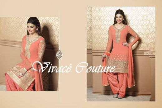 Peachy three piece salwar suit
