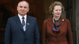 To the left: The leader of  communist party of  U.S.S.R The Mikhail Gorbachev and to the right: The Iron Lady,who played pivotal role in ending cold war.