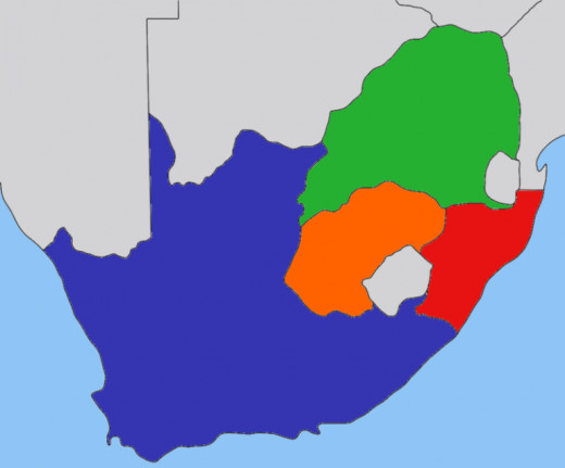 Republics in South Africa at the beginning of the 19th century: Suid-Afrikaanse Republic [Transvaal] (green), Orange Free State (orange), the Cape Colony (blue), Natalia (red). Picture by JasonAQuest @ Wikipedia