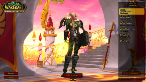 This was taken before Warlords of Draenor (WoD) during the Mist of Pandaria (MoP). Horde female Blood Elf Paladin,