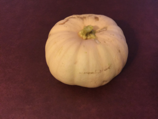 White Pumpkin waiting to be carved into a Jack-O-Lantern