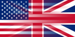 Blending of the flags of the United States and the United Kingdom.