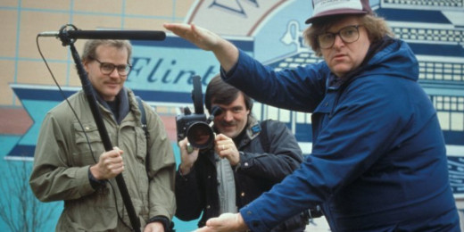 "Michael Moore on the set of ""Roger and Me"""