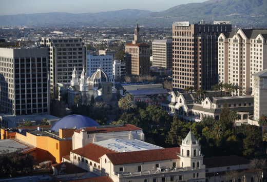 A fun stock photo of downtown San Jose, California.