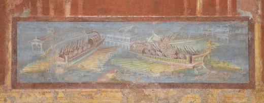 Wall painting with naumachia from Pompeii