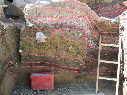 A section photo demonstrating the stratigraphy of this site in Augsburg, Germany.  They have very nicely highlighted the differing layers - the top ones will be the youngest, getting older as your travel down.