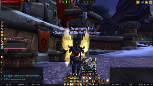 Me with my awesome PvP gear on, but do look at my button layout and see how the clutter isn't in near my main healing abilities. Warlords of Draenor (WoD). Horde, Blood Elf Paladin