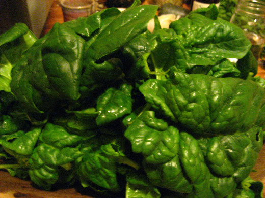 Green spinach.