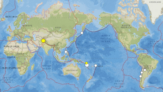 5.8Mw or greater earthquakes throughout the world during the month of October 2015.