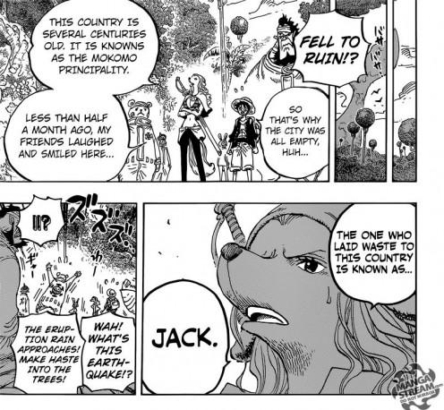 Wanda telling Luffy that Jack destroyed the Mink city on Zou island.