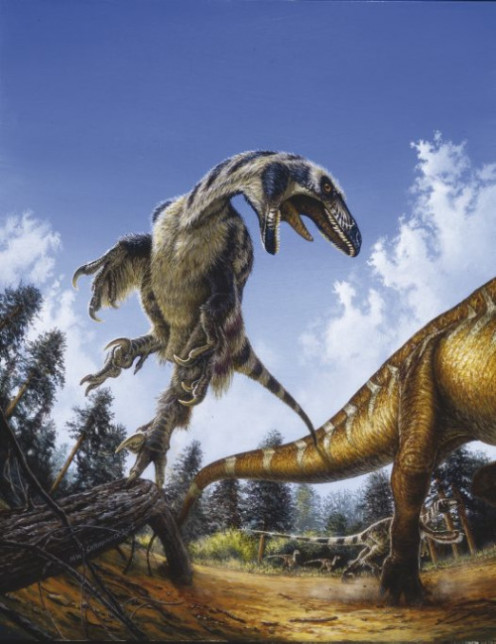 A boldly-colored Deinonychus as depicted by Michael Skrepnick, c. 2001.