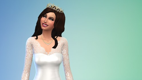 One of my Sims, Reina, looking beautiful on her wedding day in a BEO Creations tiara/gown.