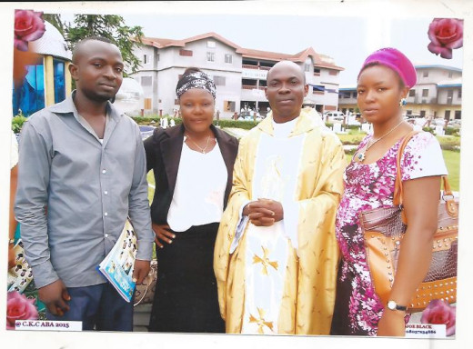 Executives of MarysRose Evangelistic Association after the Ordination Mass at Christ the King Cathedral, Aba. From Right to Left: Executive Director Chinonso Urama, Cor-ordinator of Public Affairs Glory Isaac, Chief Intercessor Anthonia Okoro and I